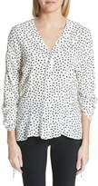 Jason Wu Polka Dot Ruched Sleeve Silk Shirt