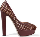 Valentino Studded perforated leather and mesh platform pumps