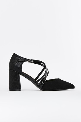 Wallis Black Double Cross Strap Heel Shoe