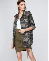 Express petite embroidered camo military jacket