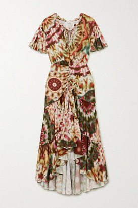 Charo Ruiz Ibiza Jackie Ruched Printed Voile Dress - Pink