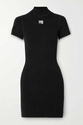 alexanderwang.t - Appliqued Stretch-knit Mini Dress - Black