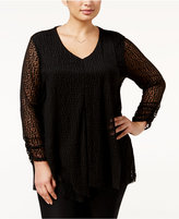Alfani Plus Size Ruffled Burnout Top, Only at Macy's