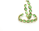 Tresor Collection - 18K Yellow Gold Medium Gemstone Hoop Earrings In Tsavorite Garnet