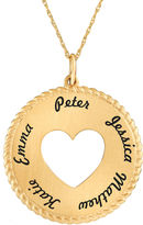 JCPenney FINE JEWELRY Personalized 14K Yellow Gold Round Disc Heart Pendant Necklace