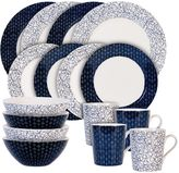 Maxwell & Williams Maxwell & WilliamsTM Free/Diamond 16-Piece Dinnerware Set in Indigo/White