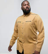 Asos PLUS Regular Fit Viscose Shirt with Western Pockets in Mustard