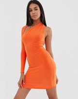 Club L London one sleeve bodycon dress in orange