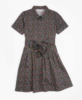 Brooks Brothers Girls Cotton Pleated Floral Print Shirt Dress