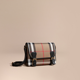 Burberry English-woven House Check and Leather Satchel