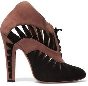 Alaia Laser-cut Two-tone Suede Ankle Boots