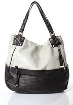 Gryson Brown Gray Leather Golden Tone Hardware Tote Handbag