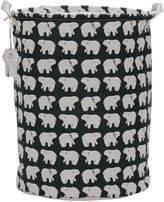 Sea Team Folding Cylindric Waterproof Coating Canvas Fabric Laundry Hamper Storage Basket with Drawstring Cover, Polar Bear