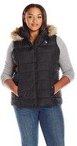 U.S. Polo Assn. Women's Plus Size Long Vest with Faux Fur Trimmed Hood