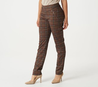 Dennis Basso Printed Ponte Pants with Zipper Detail