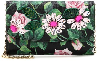 Dolce & Gabbana Mini floral leather shoulder bag