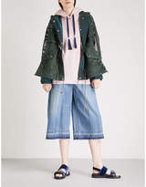 Sacai Heart-embroidered hooded mesh parka jacket