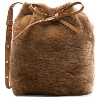 Mansur Gavriel Shearling Mini Bucket Bag in Camel   FWRD