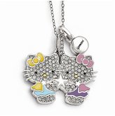 Hello Kitty Sterling Silver Crystal/Gold-tone/Enamel Gemini Necklace