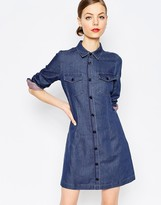 Love Moschino Denim Dot Button Through Dress
