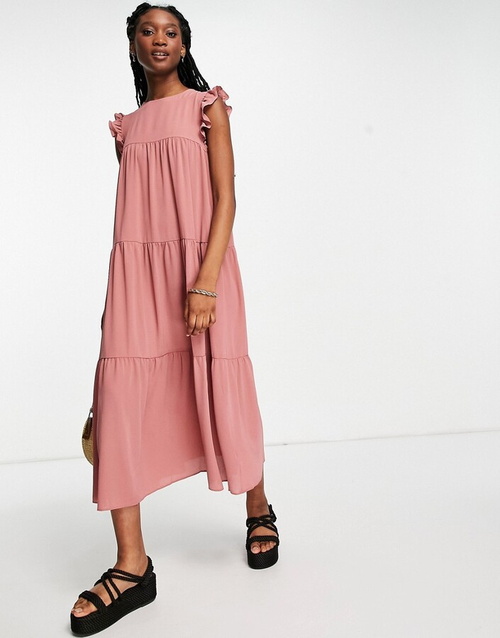 ASOS DESIGN sleeveless tiered midi dress with frills in nude