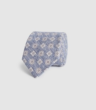 Reiss Harrison - Cotton Linen Blend Tie in Soft Blue