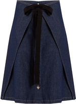 Maison Margiela Wrap-front A-line denim skirt