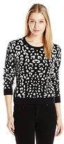 C&C California Women's Leopard Jacquard Crop Sweater