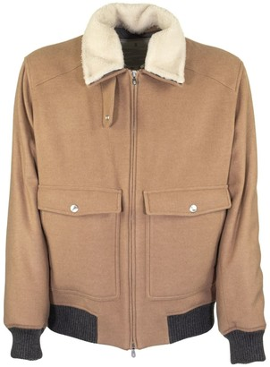 Brunello Cucinelli Camel Aviator Jacket In Cashmere