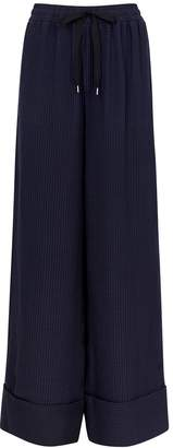 Roland Mouret Betterton Navy Silk Jacquard Trousers