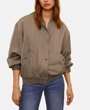 MANGO Women's Satin Bomber Jacket