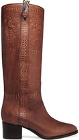 Valentino Embossed Leather Knee Boots - Tan