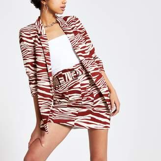 River Island Womens Brown zebra print ruched sleeve blazer