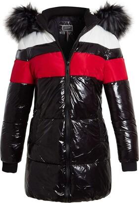 SS7 Womens High Shine Wet Look Bubble Faux Fur Parka Coat Black Red