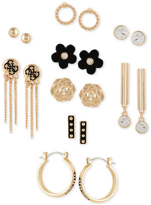 GUESS Gold-Tone 9-Pc. Set Crystal & Faux-Leather Earrings