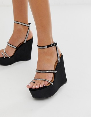 Asos Design DESIGN Tantalize toe loop embellished wedges in black