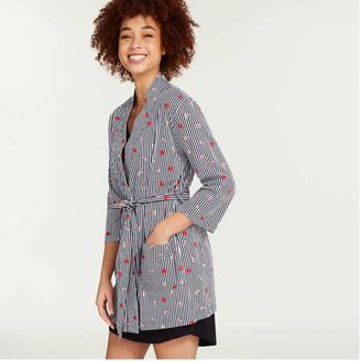 Joe Fresh Women's Essential Jersey Robe, Navy (Size L)