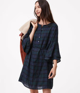 LOFT Plaid Bell Sleeve Shirtdress