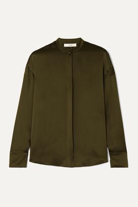 Vince Silk-satin Blouse - Army green