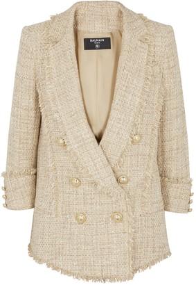 Balmain Cream Metallic-weave Tweed Blazer