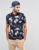Asos Palm Tree Print Pique Polo Shirt In Navy