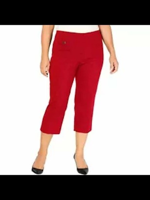 Alfani Womens Red Solid Capri Pants UK Size:20