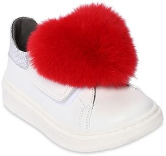 MonnaLisa Leather Sneakers W/ Fur Applique