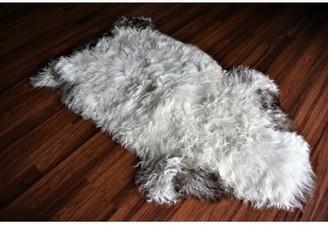 "Calvillo Animal Print Handmade 2' x 3'4"" Sheepskin White/Brown Indoor / Outdoor Area Rug Millwood Pines"