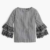 J.Crew Tall tiered bell-sleeve top in gingham