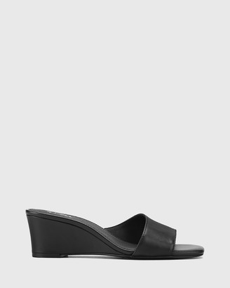 Wittner - Women's Black Sandals - Delaney Leather Wedge Heel Slides - Size One Size, 37 at The Iconic