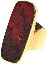 Wouters & Hendrix Women's Yellow Gold Plated 925 Sterling Silver Red Moss Agate Statement Ring - Size - 4