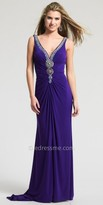 Dave and Johnny Beaded Gathered V Neck Prom Dress