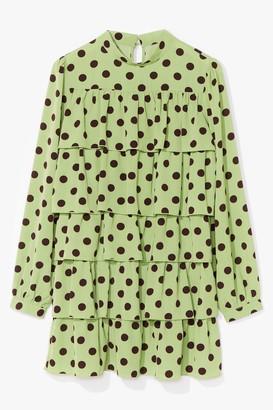 Nasty Gal Womens Tiers to Us Polka Dot Mini Dress - Green - 4, Green