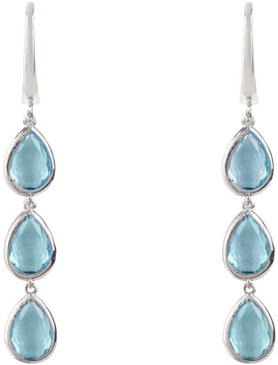 Latelita Sorrento Triple Drop Earring Silver Blue Topaz